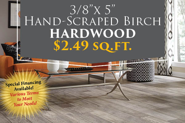 "3/8"" x 5"" hand-scraped birch hardwood flooring just $2.49 sq.ft. this month at Clarksville Abbey Carpet!  Special financing available!"